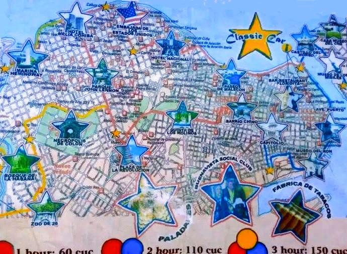 Mapa de la ruta por la Habana en coche clásico